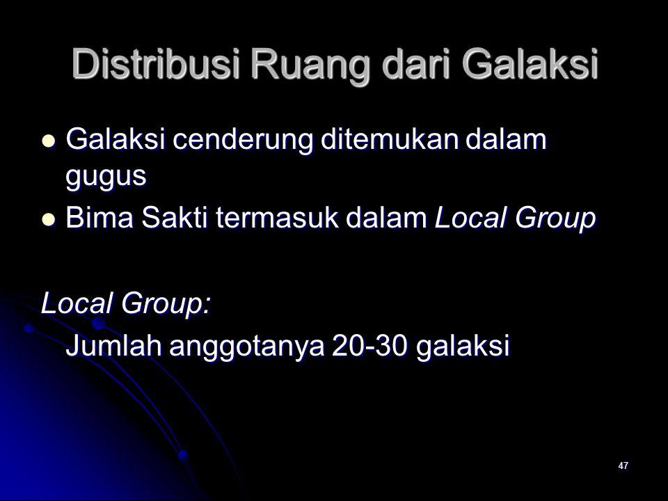 47 Distribusi Ruang dari Galaksi Galaksi cenderung ditemukan dalam gugus Galaksi cenderung ditemukan dalam gugus Bima Sakti termasuk dalam Local Group