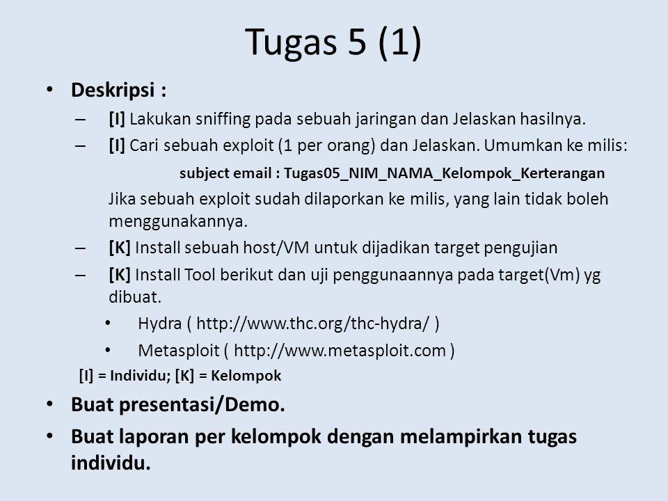 Tugas 5 (1) Deskripsi : – [I] Lakukan sniffing pada sebuah jaringan dan Jelaskan hasilnya. – [I] Cari sebuah exploit (1 per orang) dan Jelaskan. Umumk