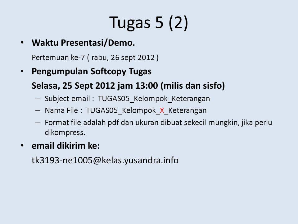 Tugas 5 (2) Waktu Presentasi/Demo. Pertemuan ke-7 ( rabu, 26 sept 2012 ) Pengumpulan Softcopy Tugas Selasa, 25 Sept 2012 jam 13:00 (milis dan sisfo) –