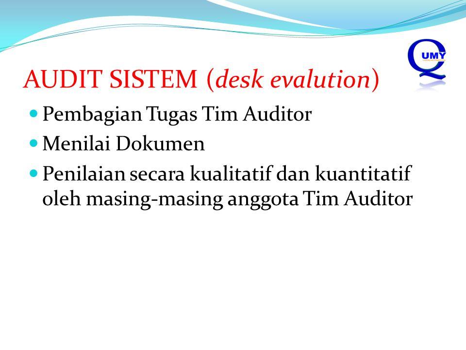 AUDIT SISTEM (desk evalution) Pembagian Tugas Tim Auditor Menilai Dokumen Penilaian secara kualitatif dan kuantitatif oleh masing-masing anggota Tim A