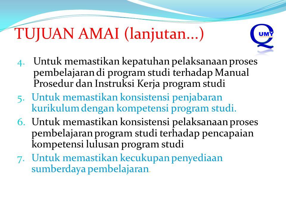 TUJUAN AMAI (lanjutan...) 4. Untuk memastikan kepatuhan pelaksanaan proses pembelajaran di program studi terhadap Manual Prosedur dan Instruksi Kerja