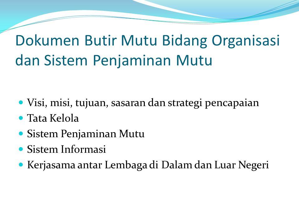 Dokumen Butir Mutu Bidang Organisasi dan Sistem Penjaminan Mutu Visi, misi, tujuan, sasaran dan strategi pencapaian Tata Kelola Sistem Penjaminan Mutu