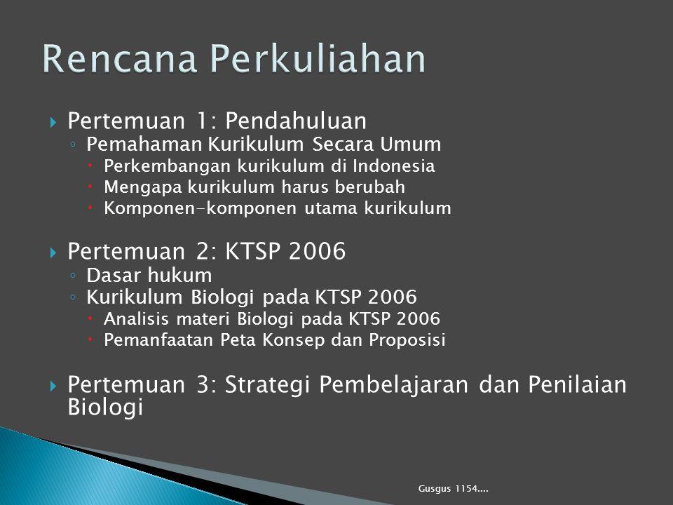  Pertemuan 1: Pendahuluan ◦ Pemahaman Kurikulum Secara Umum  Perkembangan kurikulum di Indonesia  Mengapa kurikulum harus berubah  Komponen-kompon