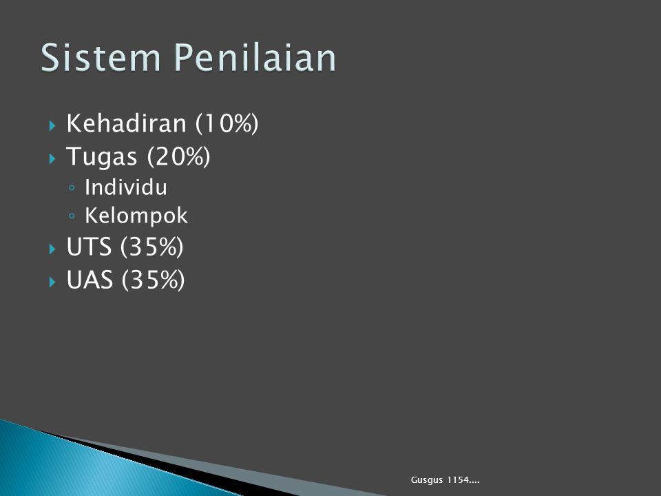  Kehadiran (10%)  Tugas (20%) ◦ Individu ◦ Kelompok  UTS (35%)  UAS (35%) Gusgus 1154....