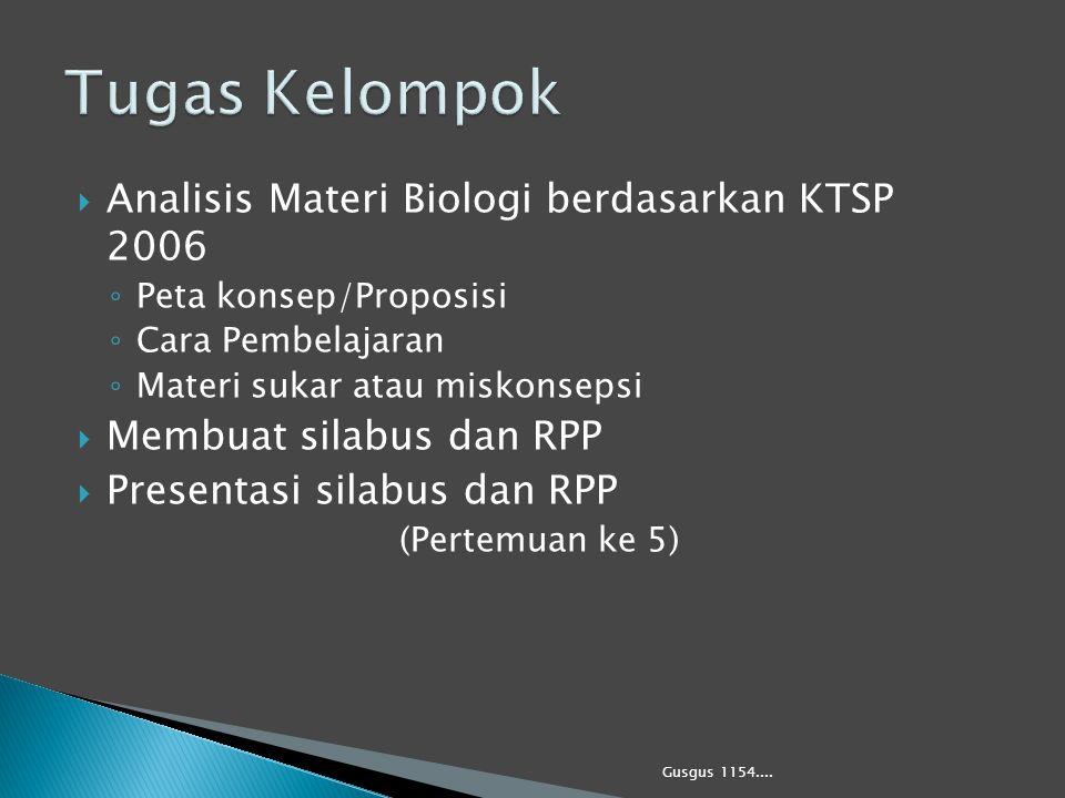  Analisis Materi Biologi berdasarkan KTSP 2006 ◦ Peta konsep/Proposisi ◦ Cara Pembelajaran ◦ Materi sukar atau miskonsepsi  Membuat silabus dan RPP
