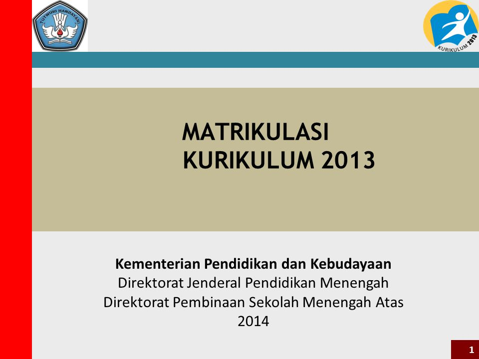 MATRIKULASI KURIKULUM 2013 Kementerian Pendidikan dan Kebudayaan Direktorat Jenderal Pendidikan Menengah Direktorat Pembinaan Sekolah Menengah Atas 2014 1