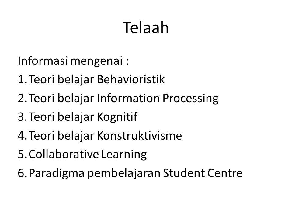 Telaah Informasi mengenai : 1.Teori belajar Behavioristik 2.Teori belajar Information Processing 3.Teori belajar Kognitif 4.Teori belajar Konstruktivi
