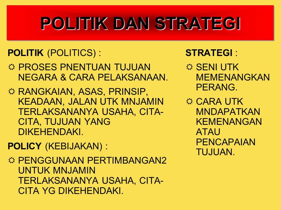POLITIK DAN STRATEGI POLITIK (POLITICS) :  PROSES PNENTUAN TUJUAN NEGARA & CARA PELAKSANAAN.  RANGKAIAN, ASAS, PRINSIP, KEADAAN, JALAN UTK MNJAMIN T