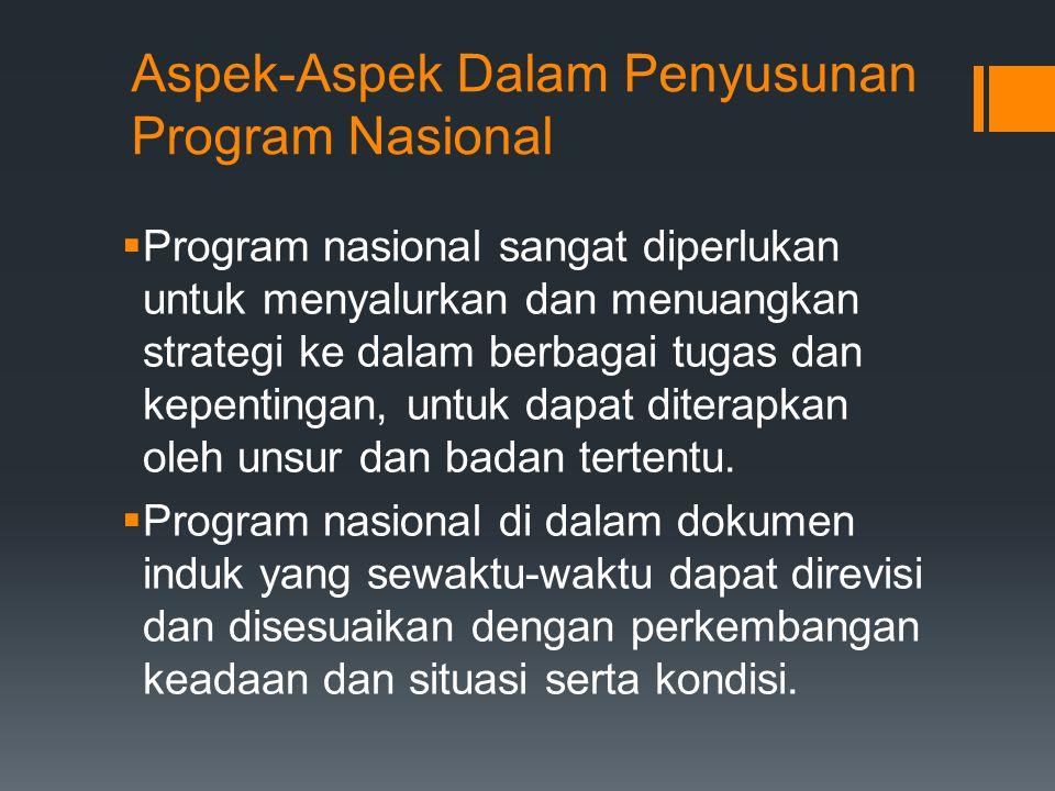 Aspek-Aspek Dalam Penyusunan Program Nasional  Program nasional sangat diperlukan untuk menyalurkan dan menuangkan strategi ke dalam berbagai tugas d