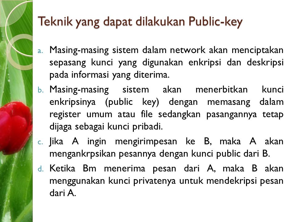 Teknik yang dapat dilakukan Public-key a. Masing-masing sistem dalam network akan menciptakan sepasang kunci yang digunakan enkripsi dan deskripsi pad