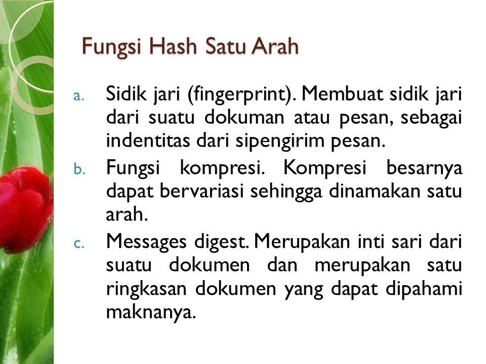Fungsi Hash Satu Arah a. Sidik jari (fingerprint). Membuat sidik jari dari suatu dokuman atau pesan, sebagai indentitas dari sipengirim pesan. b. Fung
