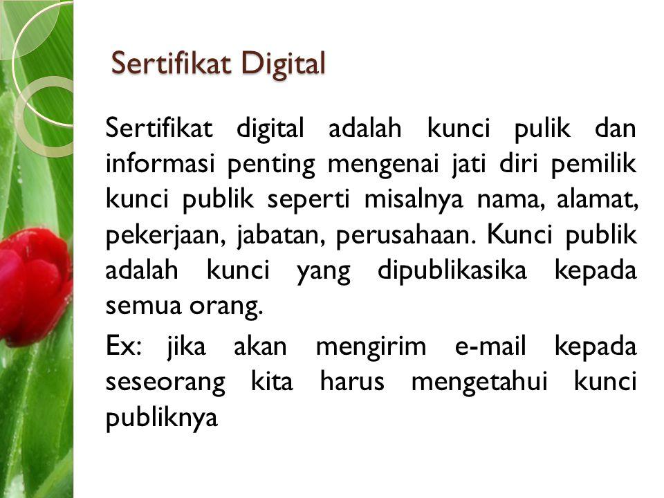 Sertifikat Digital Sertifikat digital adalah kunci pulik dan informasi penting mengenai jati diri pemilik kunci publik seperti misalnya nama, alamat,