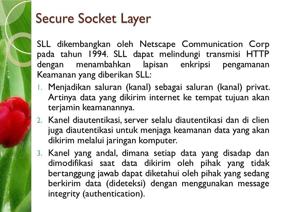 Secure Socket Layer SLL dikembangkan oleh Netscape Communication Corp pada tahun 1994. SLL dapat melindungi transmisi HTTP dengan menambahkan lapisan