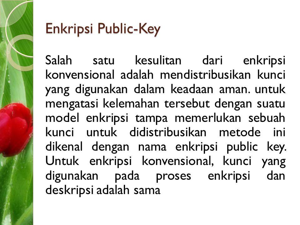 Enkripsi Public-Key Salah satu kesulitan dari enkripsi konvensional adalah mendistribusikan kunci yang digunakan dalam keadaan aman. untuk mengatasi k