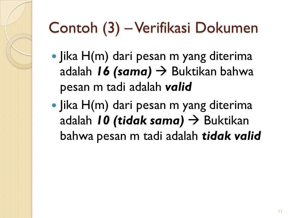 Contoh (3) – Verifikasi Dokumen Jika H(m) dari pesan m yang diterima adalah 16 (sama)  Buktikan bahwa pesan m tadi adalah valid Jika H(m) dari pesan