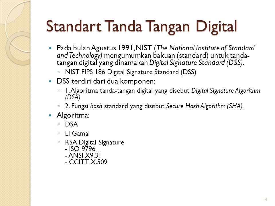 Standart Tanda Tangan Digital Pada bulan Agustus 1991, NIST (The National Institute of Standard and Technology) mengumumkan bakuan (standard) untuk ta