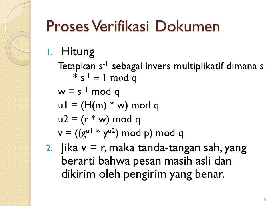 Proses Verifikasi Dokumen 1. Hitung Tetapkan s -1 sebagai invers multiplikatif dimana s * s -1 ≡ 1 mod q w = s –1 mod q u1 = (H(m) * w) mod q u2 = (r