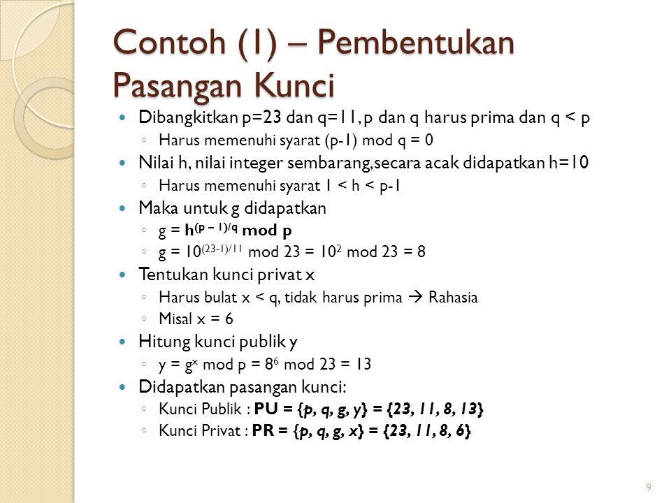 Contoh (1) – Pembentukan Pasangan Kunci Dibangkitkan p=23 dan q=11, p dan q harus prima dan q < p ◦ Harus memenuhi syarat (p-1) mod q = 0 Nilai h, nil