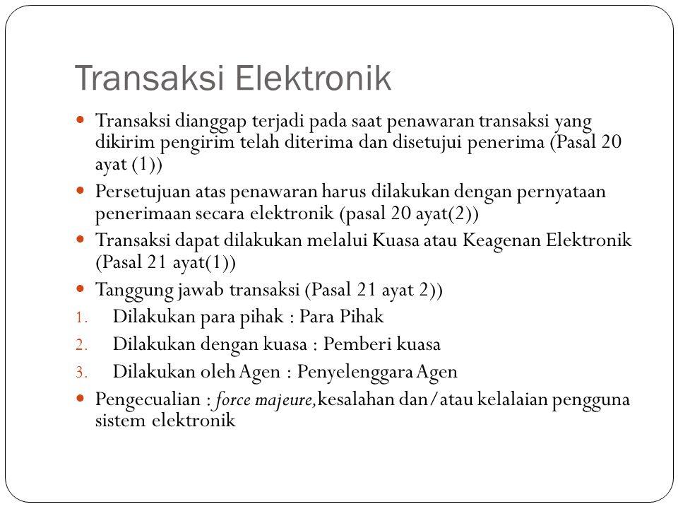 Transaksi Elektronik Transaksi dianggap terjadi pada saat penawaran transaksi yang dikirim pengirim telah diterima dan disetujui penerima (Pasal 20 ayat (1)) Persetujuan atas penawaran harus dilakukan dengan pernyataan penerimaan secara elektronik (pasal 20 ayat(2)) Transaksi dapat dilakukan melalui Kuasa atau Keagenan Elektronik (Pasal 21 ayat(1)) Tanggung jawab transaksi (Pasal 21 ayat 2)) 1.