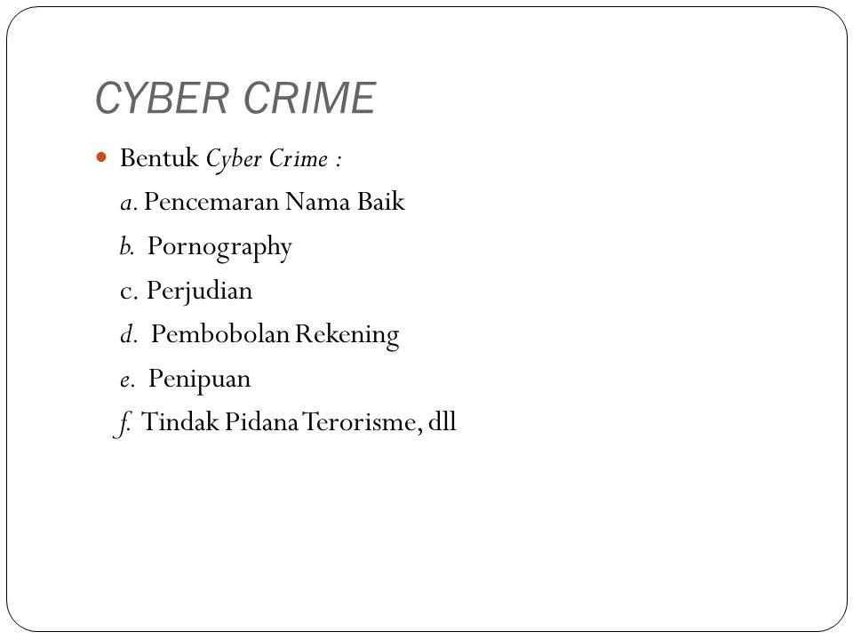 CYBER CRIME Bentuk Cyber Crime : a.Pencemaran Nama Baik b.