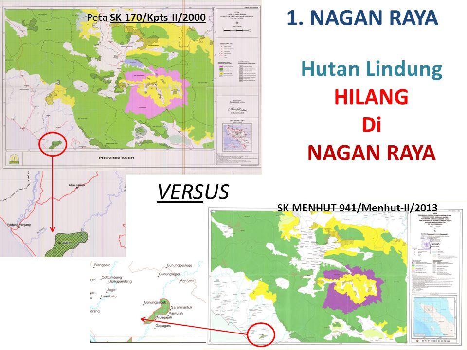 VERSUS 1. NAGAN RAYA Hutan Lindung HILANG Di NAGAN RAYA Peta SK 170/Kpts-II/2000 SK MENHUT 941/Menhut-II/2013
