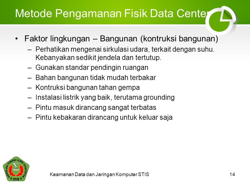 Keamanan Data dan Jaringan Komputer STIS14 Metode Pengamanan Fisik Data Center Faktor lingkungan – Bangunan (kontruksi bangunan) –Perhatikan mengenai