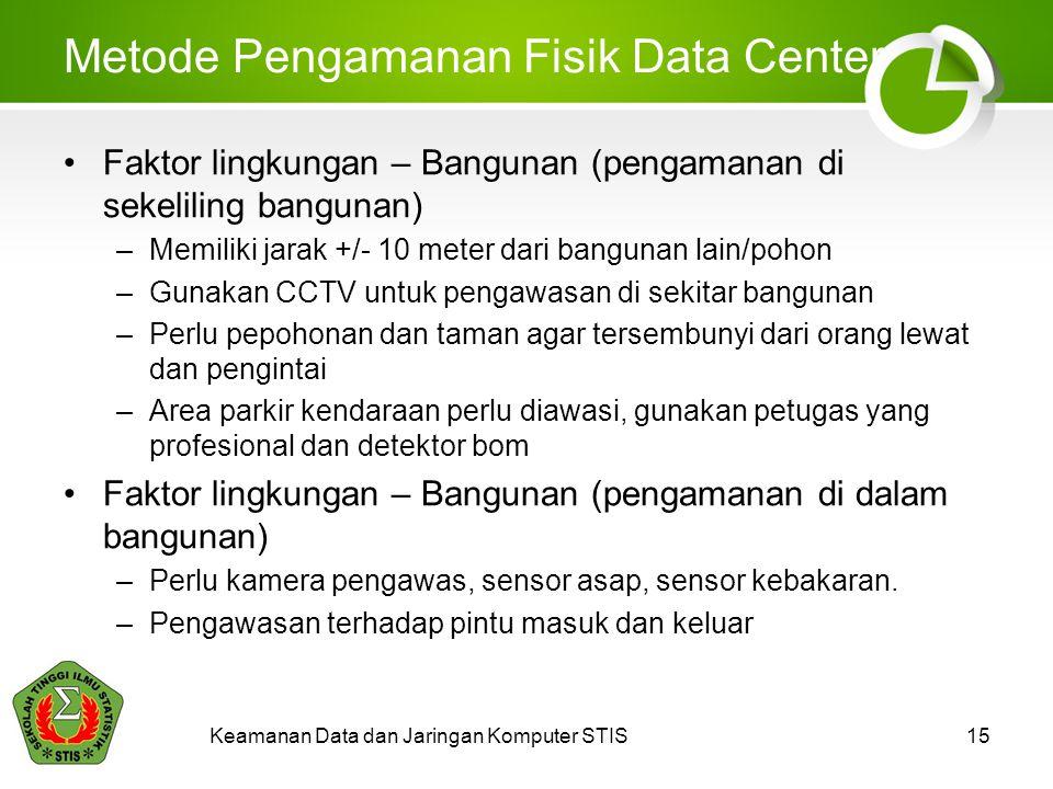 Keamanan Data dan Jaringan Komputer STIS15 Metode Pengamanan Fisik Data Center Faktor lingkungan – Bangunan (pengamanan di sekeliling bangunan) –Memil