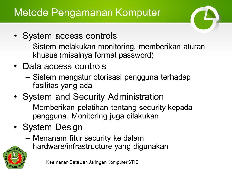 Keamanan Data dan Jaringan Komputer STIS Metode Pengamanan Komputer System access controls –Sistem melakukan monitoring, memberikan aturan khusus (mis