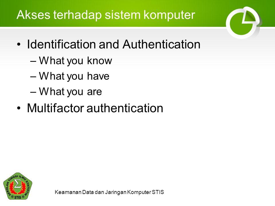 Keamanan Data dan Jaringan Komputer STIS Akses terhadap sistem komputer Identification and Authentication –What you know –What you have –What you are