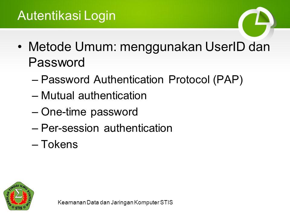 Keamanan Data dan Jaringan Komputer STIS Autentikasi Login Metode Umum: menggunakan UserID dan Password –Password Authentication Protocol (PAP) –Mutua