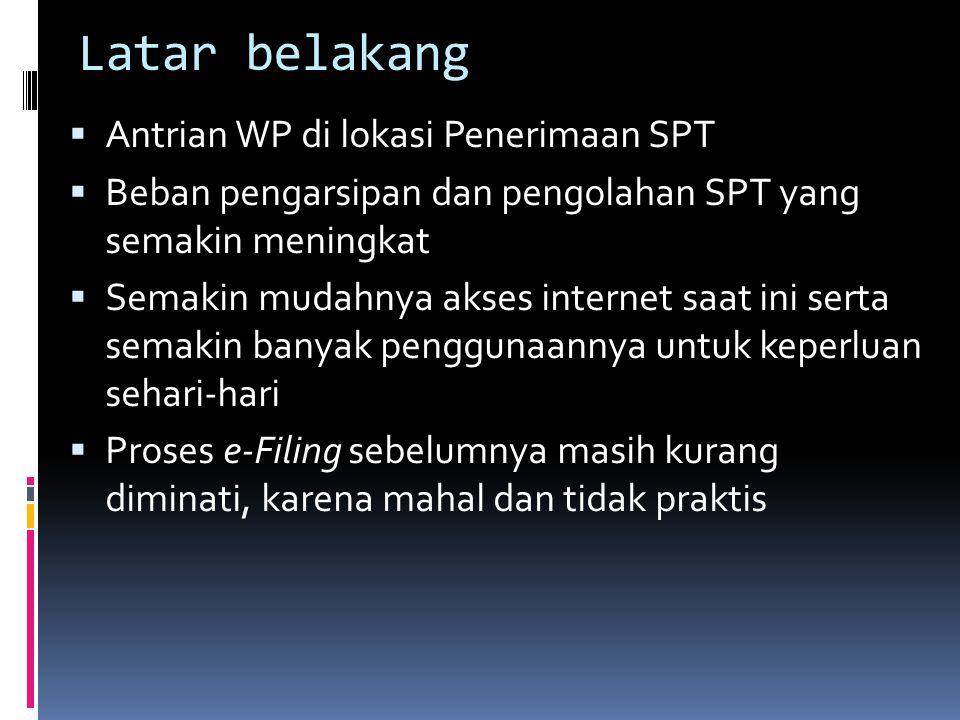 Latar belakang  Antrian WP di lokasi Penerimaan SPT  Beban pengarsipan dan pengolahan SPT yang semakin meningkat  Semakin mudahnya akses internet s