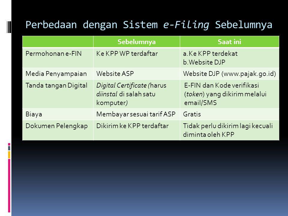 Fitur e-Filing melalui www.pajak.go.id  Penyampaian SPT dapat dilakukan secara cepat, aman, dan kapan saja (24h / 7d).