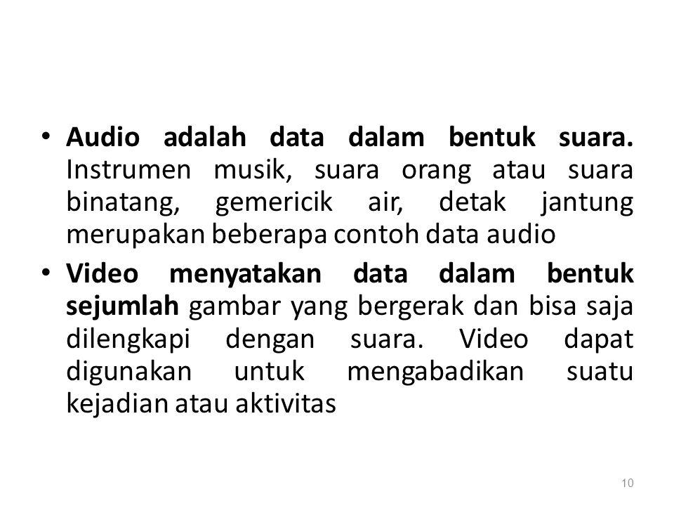 Audio adalah data dalam bentuk suara.
