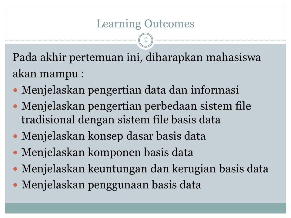 Outline Materi 3 Data dan Informasi Sistem File tradisional dan sistem file basis data Konsep dasar Basis Data Komponen Basis Data Keuntungan dan Kerugian Basis Data Aplikasi/penerapan database sehari-hari