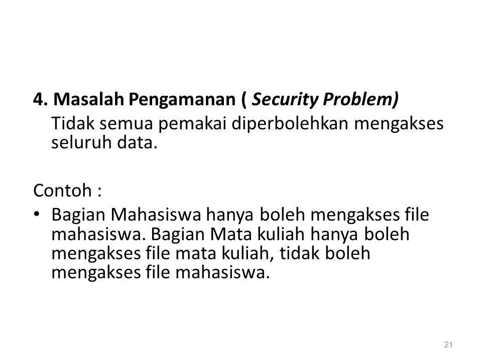4.Masalah Pengamanan ( Security Problem) Tidak semua pemakai diperbolehkan mengakses seluruh data.