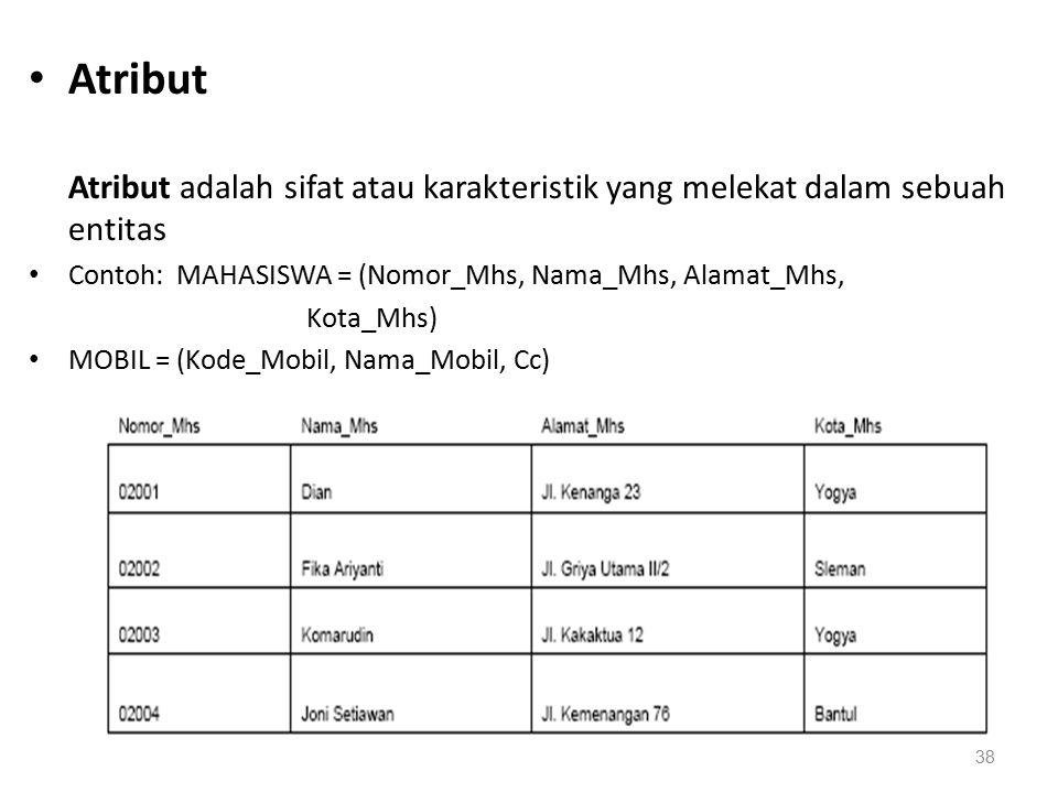Atribut Atribut adalah sifat atau karakteristik yang melekat dalam sebuah entitas Contoh: MAHASISWA = (Nomor_Mhs, Nama_Mhs, Alamat_Mhs, Kota_Mhs) MOBIL = (Kode_Mobil, Nama_Mobil, Cc) 38