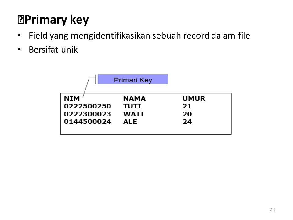 ◆ Primary key Field yang mengidentifikasikan sebuah record dalam file Bersifat unik 41