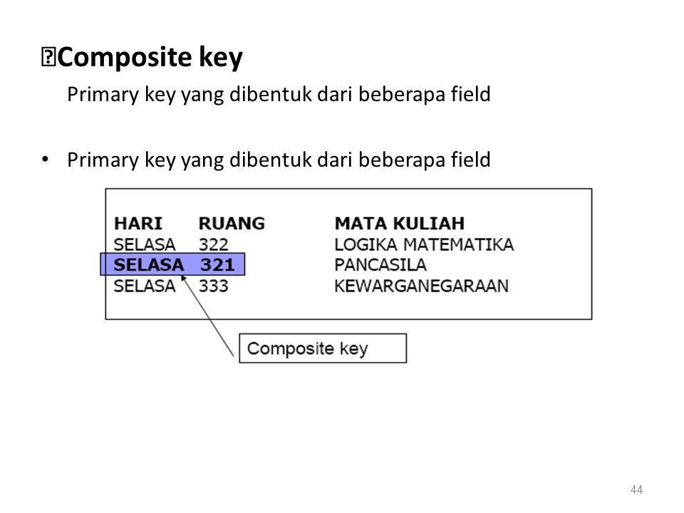 ◆ Composite key Primary key yang dibentuk dari beberapa field 44