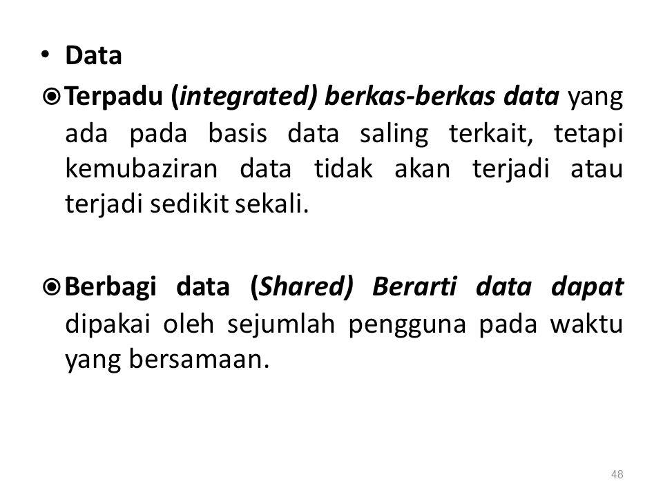 Data ◉ Terpadu (integrated) berkas-berkas data yang ada pada basis data saling terkait, tetapi kemubaziran data tidak akan terjadi atau terjadi sedikit sekali.