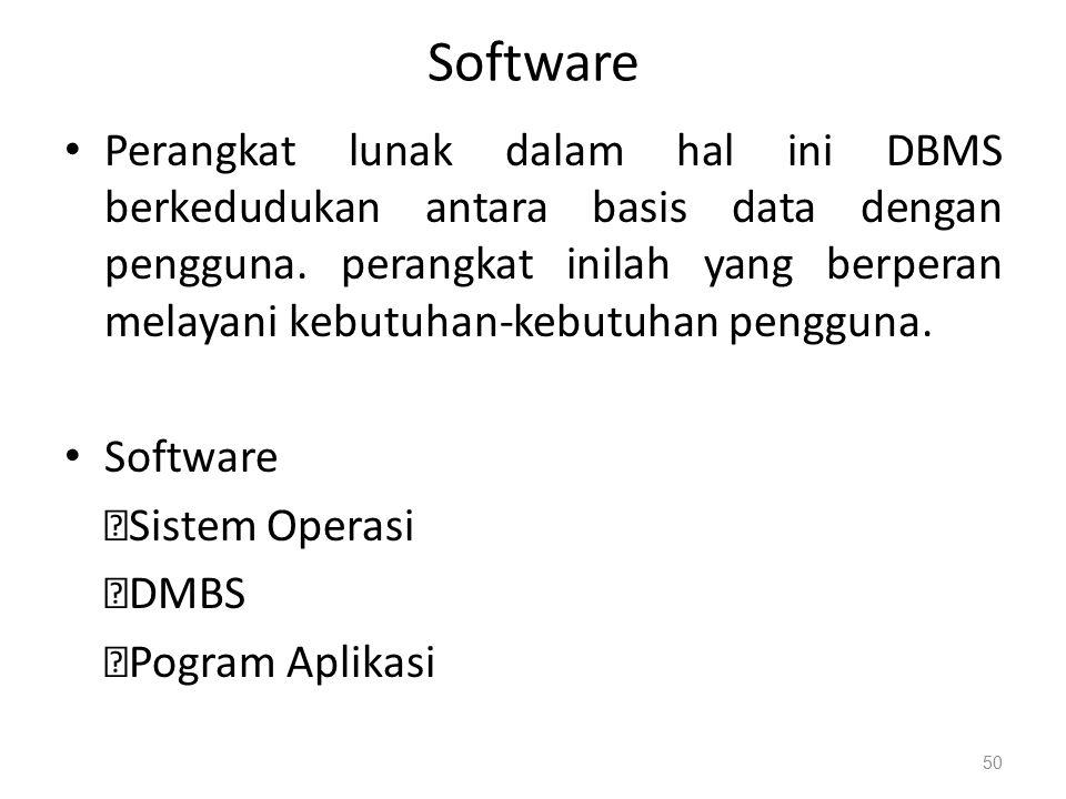 Software Perangkat lunak dalam hal ini DBMS berkedudukan antara basis data dengan pengguna.