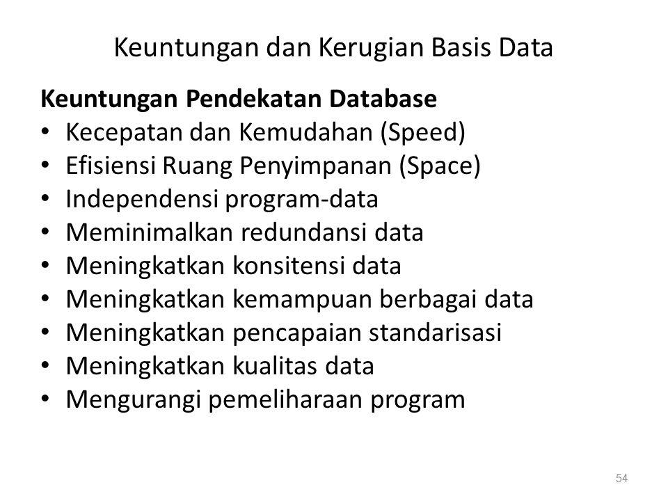 Keuntungan dan Kerugian Basis Data Keuntungan Pendekatan Database Kecepatan dan Kemudahan (Speed) Efisiensi Ruang Penyimpanan (Space) Independensi program-data Meminimalkan redundansi data Meningkatkan konsitensi data Meningkatkan kemampuan berbagai data Meningkatkan pencapaian standarisasi Meningkatkan kualitas data Mengurangi pemeliharaan program 54