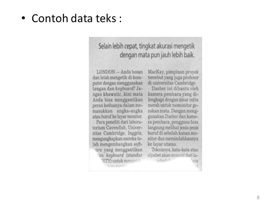 Record Data Kumpulan Isi Elemen data yang saling berhubungan.