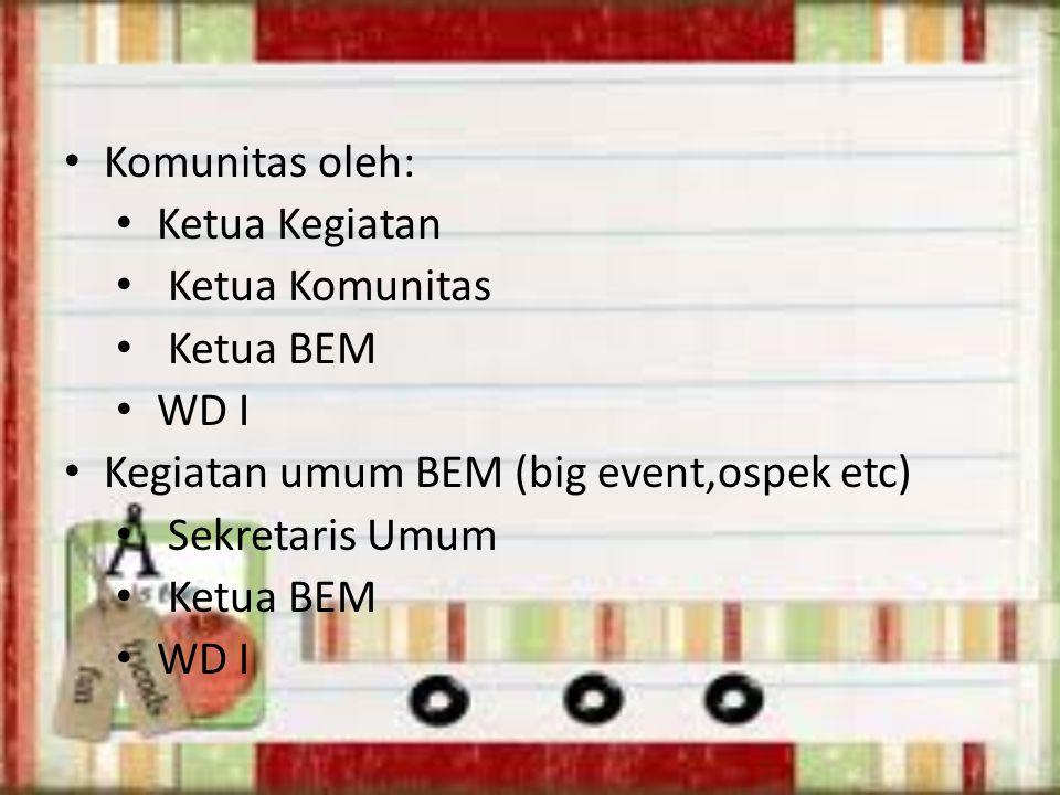 Komunitas oleh: Ketua Kegiatan Ketua Komunitas Ketua BEM WD I Kegiatan umum BEM (big event,ospek etc) Sekretaris Umum Ketua BEM WD I