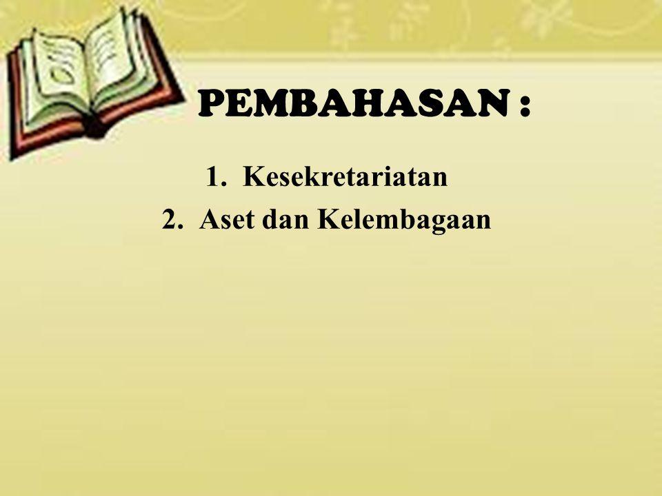 PEMBAHASAN : 1.Kesekretariatan 2.Aset dan Kelembagaan