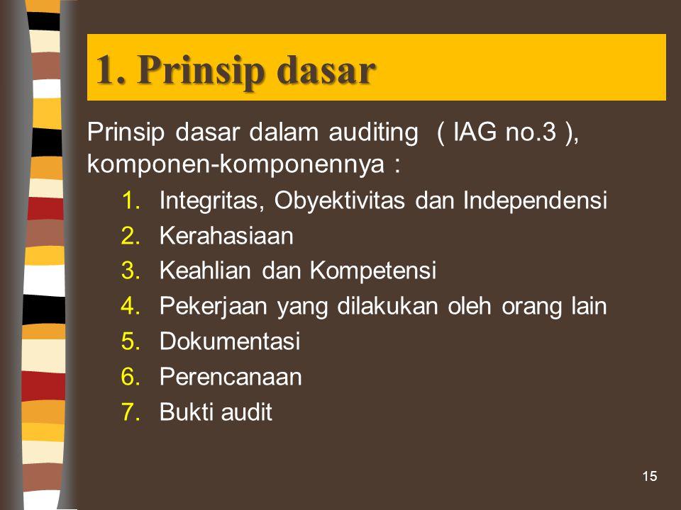 1. Prinsip dasar Prinsip dasar dalam auditing ( IAG no.3 ), komponen-komponennya : 1.Integritas, Obyektivitas dan Independensi 2.Kerahasiaan 3.Keahlia