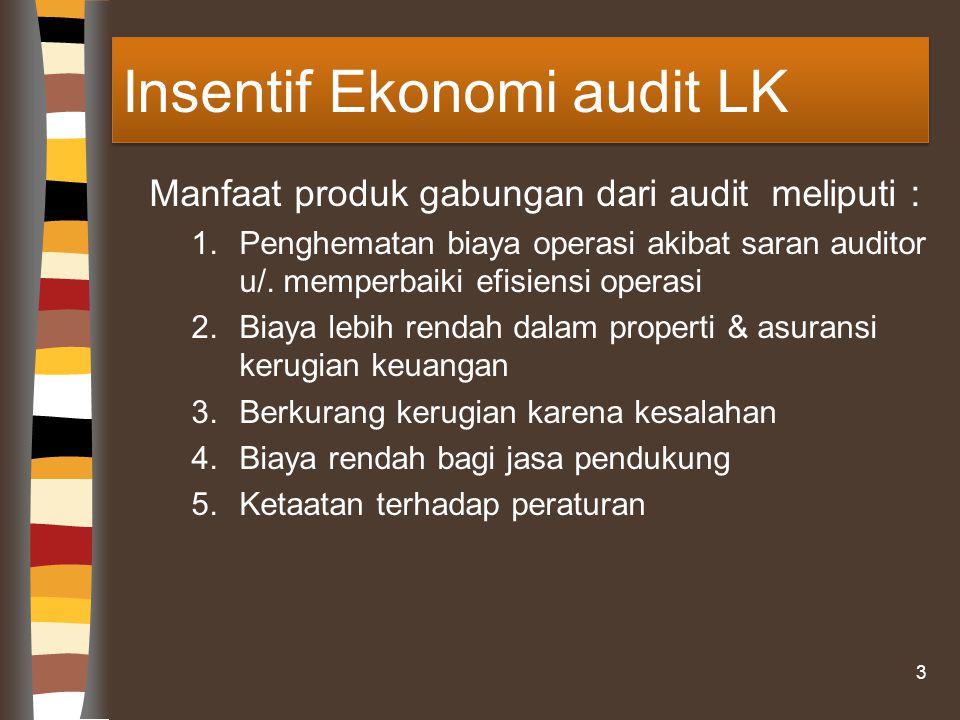 Insentif Ekonomi audit LK Manfaat produk gabungan dari audit meliputi : 1.Penghematan biaya operasi akibat saran auditor u/.