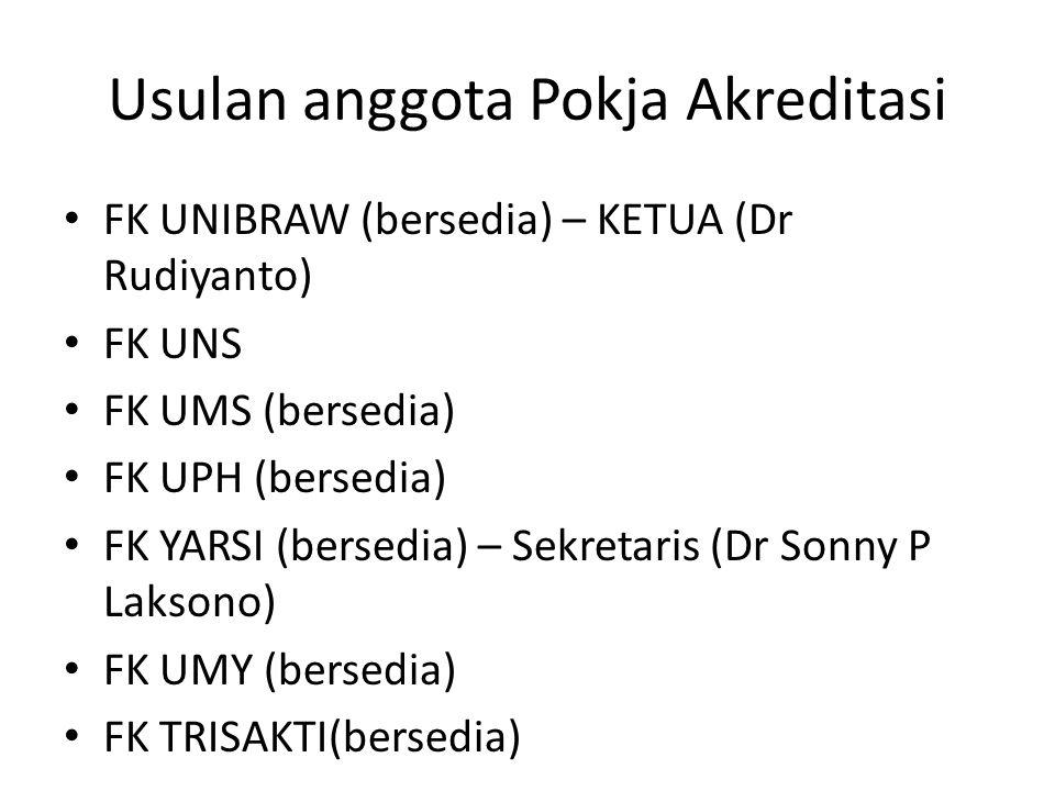 Usulan anggota Pokja Akreditasi FK UNIBRAW (bersedia) – KETUA (Dr Rudiyanto) FK UNS FK UMS (bersedia) FK UPH (bersedia) FK YARSI (bersedia) – Sekretaris (Dr Sonny P Laksono) FK UMY (bersedia) FK TRISAKTI(bersedia)