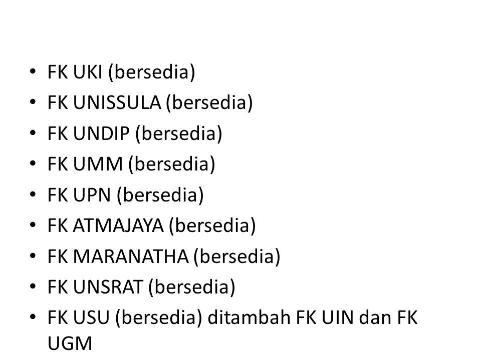 FK UKI (bersedia) FK UNISSULA (bersedia) FK UNDIP (bersedia) FK UMM (bersedia) FK UPN (bersedia) FK ATMAJAYA (bersedia) FK MARANATHA (bersedia) FK UNSRAT (bersedia) FK USU (bersedia) ditambah FK UIN dan FK UGM