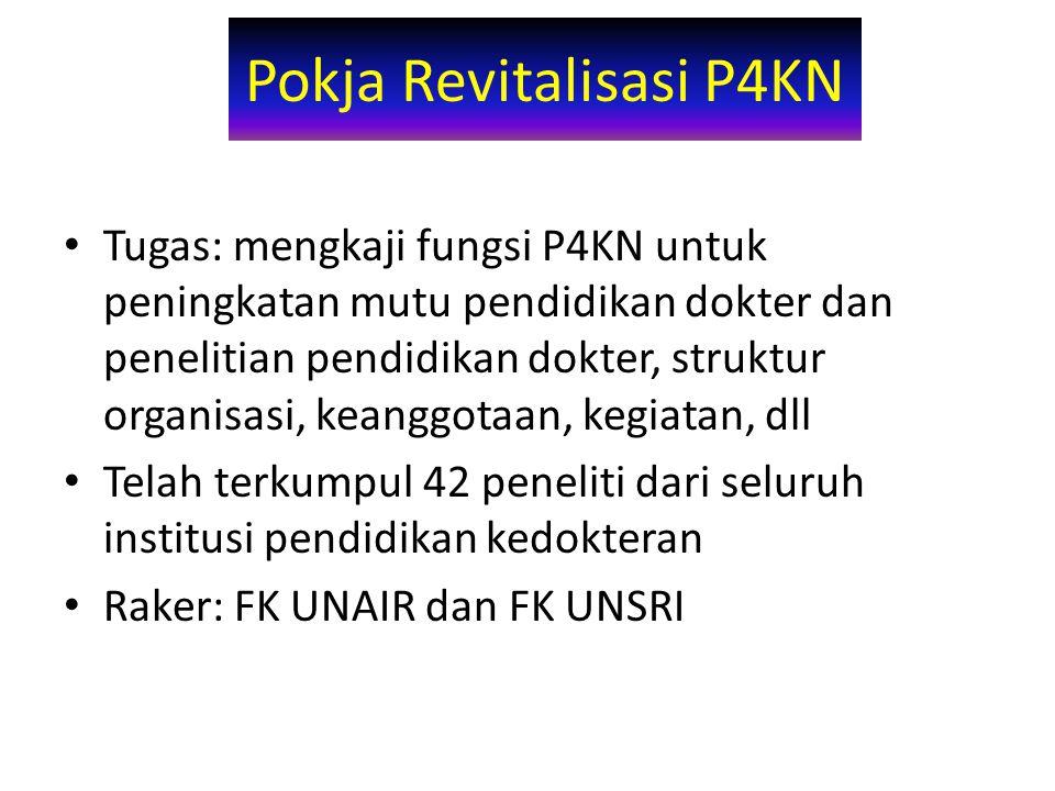 Pokja Revitalisasi P4KN Tugas: mengkaji fungsi P4KN untuk peningkatan mutu pendidikan dokter dan penelitian pendidikan dokter, struktur organisasi, keanggotaan, kegiatan, dll Telah terkumpul 42 peneliti dari seluruh institusi pendidikan kedokteran Raker: FK UNAIR dan FK UNSRI