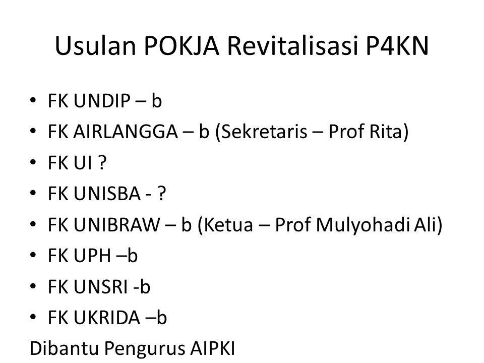 Usulan POKJA Revitalisasi P4KN FK UNDIP – b FK AIRLANGGA – b (Sekretaris – Prof Rita) FK UI .